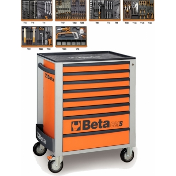 Beta Tools C24S/8 O + 5904VI/3T Gereedschapswagen | Gevuld | 8 Laden | Oranje | 142 Delig Set